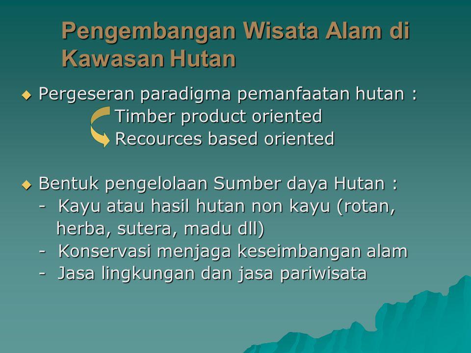  Pergeseran paradigma pemanfaatan hutan : Timber product oriented Recources based oriented  Bentuk pengelolaan Sumber daya Hutan : - Kayu atau hasil