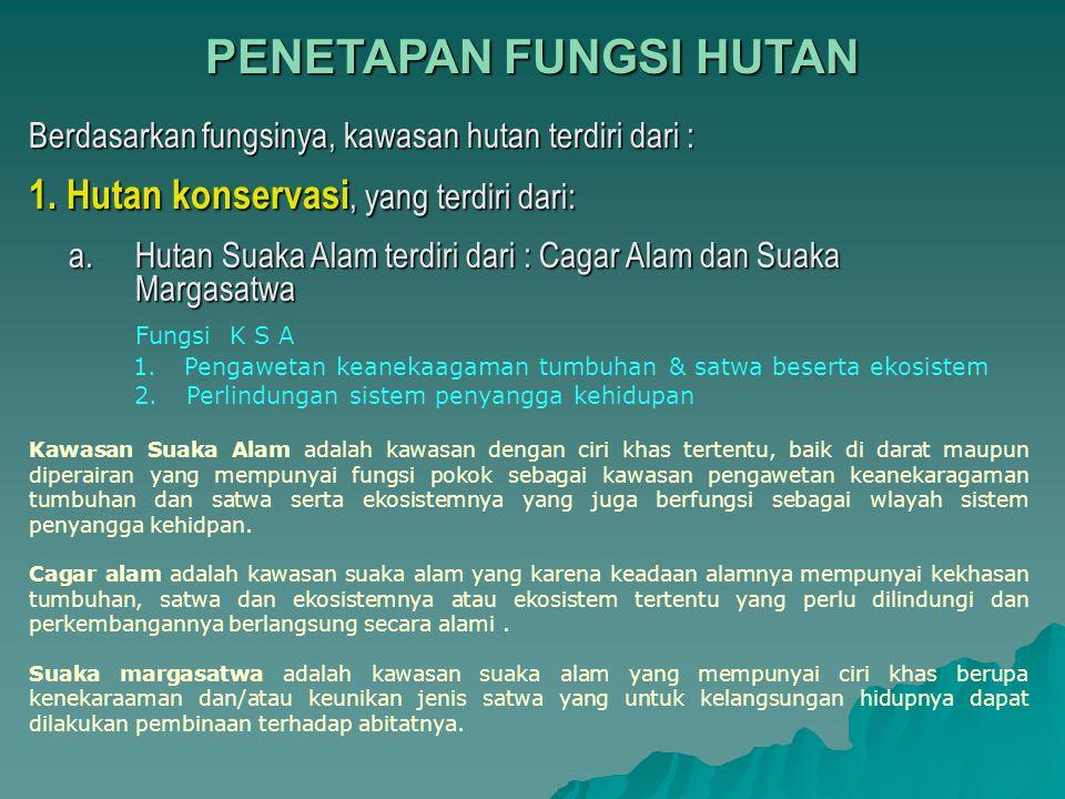 PENETAPAN FUNGSI HUTAN Berdasarkan fungsinya, kawasan hutan terdiri dari : 1. Hutan konservasi, yang terdiri dari: a. Hutan Suaka Alam terdiri dari :