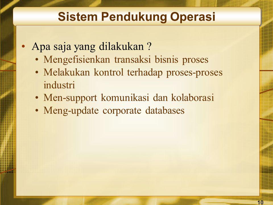 10 Sistem Pendukung Operasi •Apa saja yang dilakukan .
