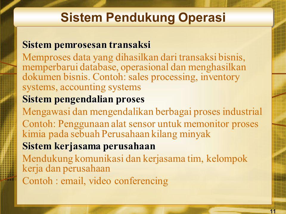 11 Sistem Pendukung Operasi Sistem pemrosesan transaksi Memproses data yang dihasilkan dari transaksi bisnis, memperbarui database, operasional dan menghasilkan dokumen bisnis.