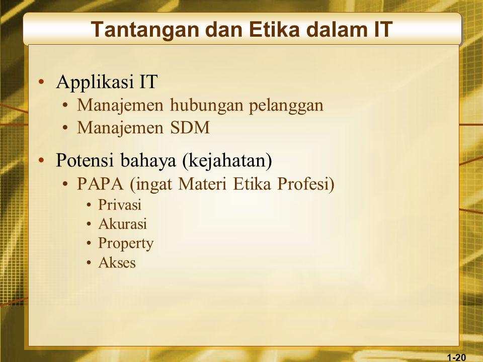 20 1-20 Tantangan dan Etika dalam IT •Applikasi IT •Manajemen hubungan pelanggan •Manajemen SDM •Potensi bahaya (kejahatan) •PAPA (ingat Materi Etika Profesi) •Privasi •Akurasi •Property •Akses