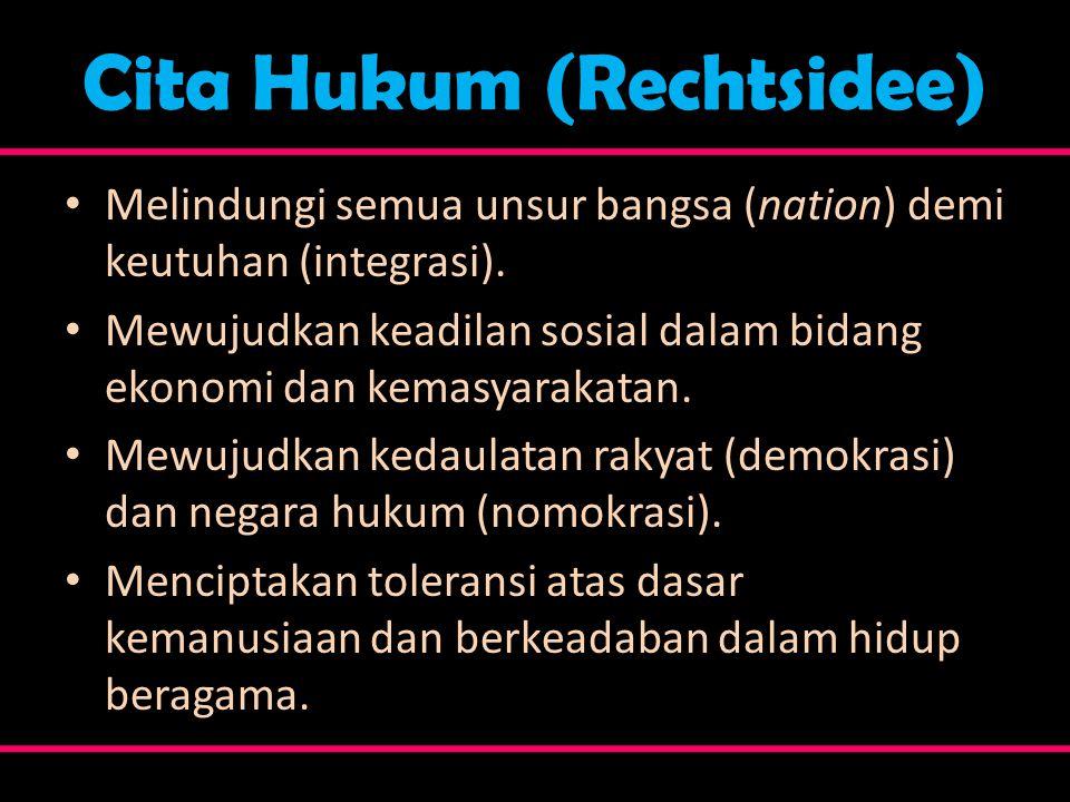 Cita Hukum (Rechtsidee) • Melindungi semua unsur bangsa (nation) demi keutuhan (integrasi). • Mewujudkan keadilan sosial dalam bidang ekonomi dan kema