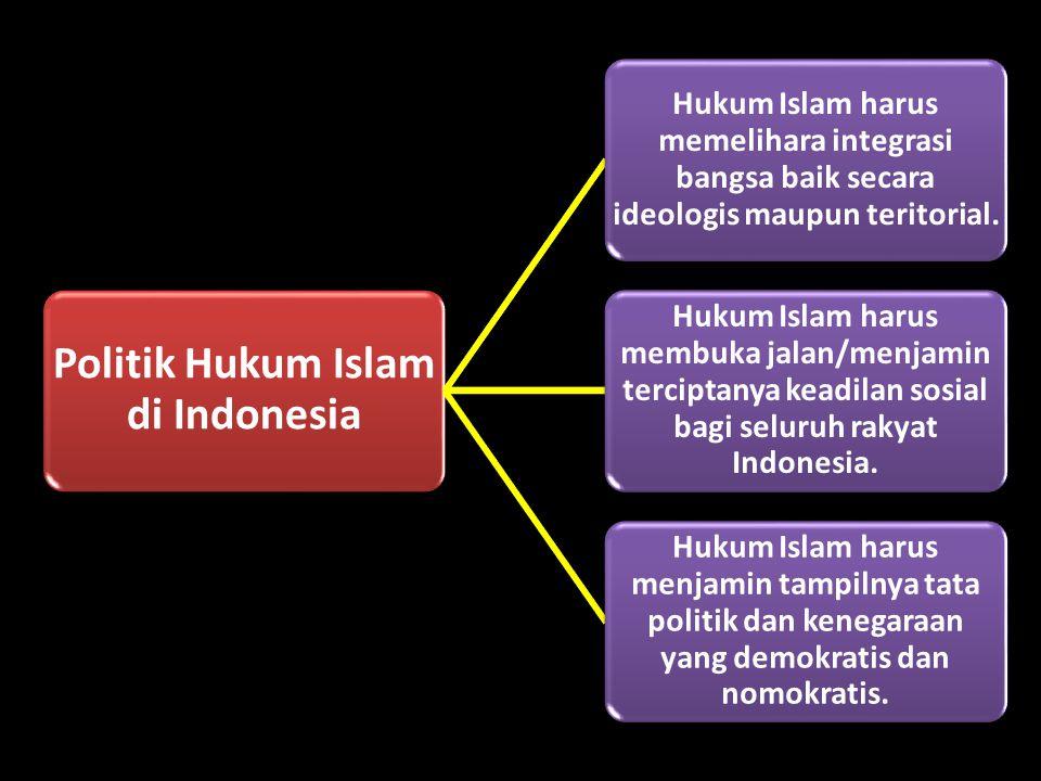Politik Hukum Islam di Indonesia Hukum Islam harus memelihara integrasi bangsa baik secara ideologis maupun teritorial. Hukum Islam harus membuka jala