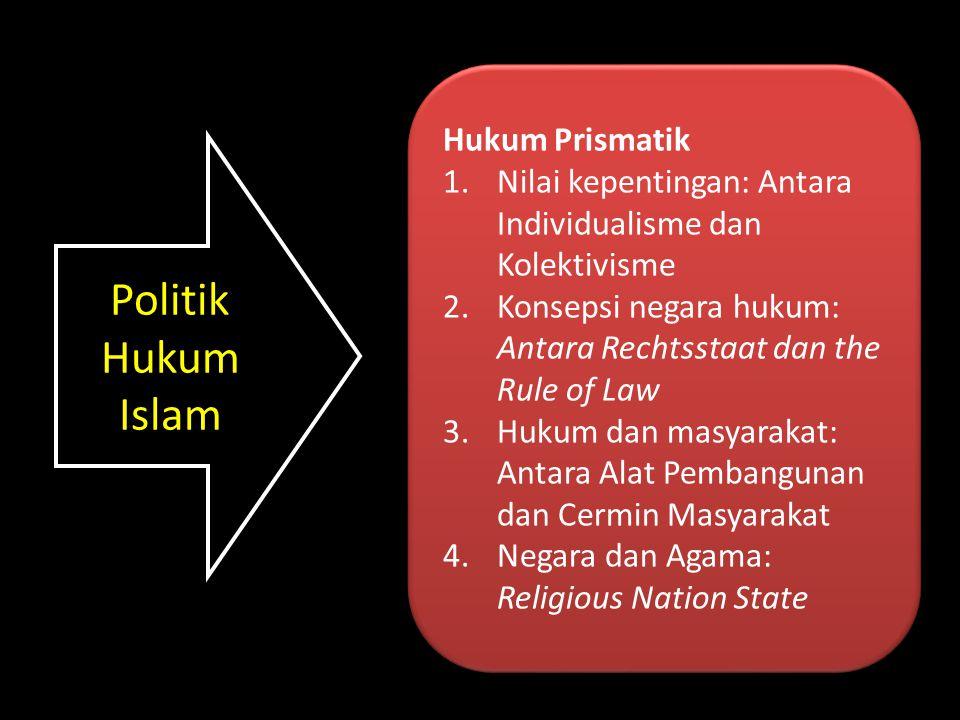 Politik Hukum Islam Hukum Prismatik 1.Nilai kepentingan: Antara Individualisme dan Kolektivisme 2.Konsepsi negara hukum: Antara Rechtsstaat dan the Ru