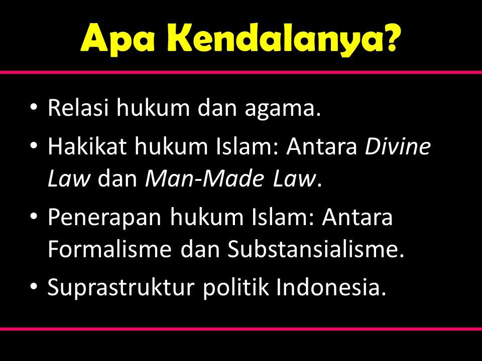 Apa Kendalanya? • Relasi hukum dan agama. • Hakikat hukum Islam: Antara Divine Law dan Man-Made Law. • Penerapan hukum Islam: Antara Formalisme dan Su