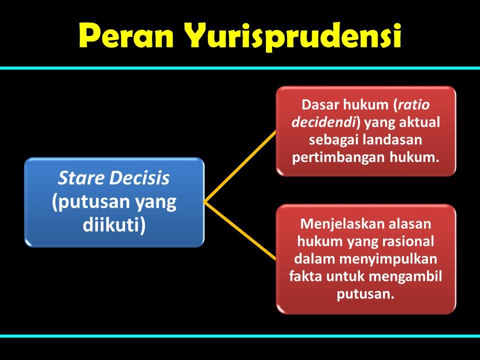 Peran Yurisprudensi Stare Decisis (putusan yang diikuti) Dasar hukum (ratio decidendi) yang aktual sebagai landasan pertimbangan hukum. Menjelaskan al