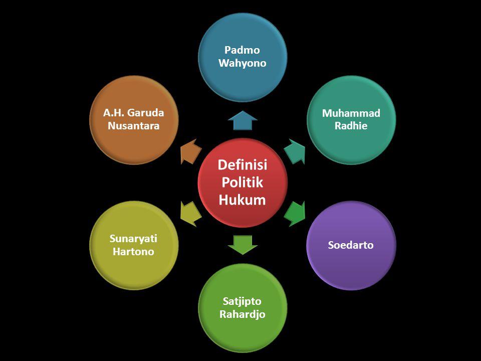 Definisi Politik Hukum Padmo Wahyono Muhammad Radhie Soedarto Satjipto Rahardjo Sunaryati Hartono A.H. Garuda Nusantara