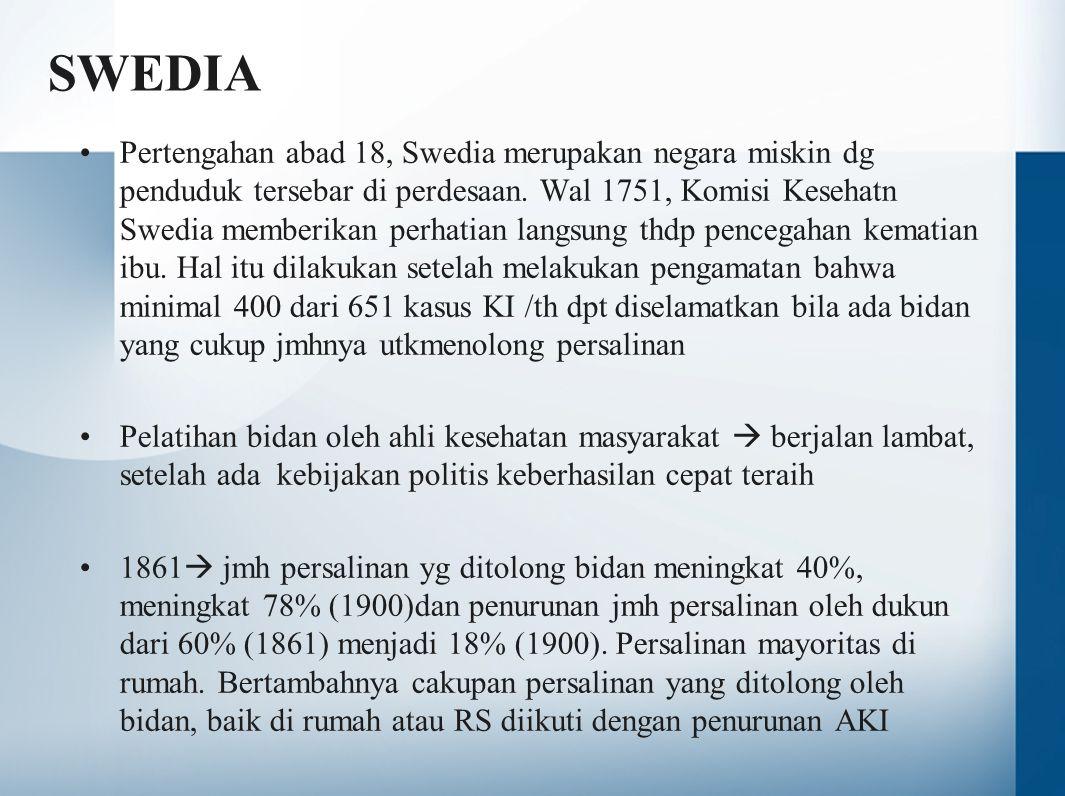 SWEDIA •Pertengahan abad 18, Swedia merupakan negara miskin dg penduduk tersebar di perdesaan. Wal 1751, Komisi Kesehatn Swedia memberikan perhatian l