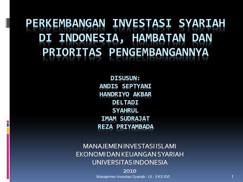 MANAJEMEN INVESTASI ISLAMI EKONOMI DAN KEUANGAN SYARIAH UNIVERSITAS INDONESIA 2010 1 Manajemen Investasi Syariah - UI - EKS XVI