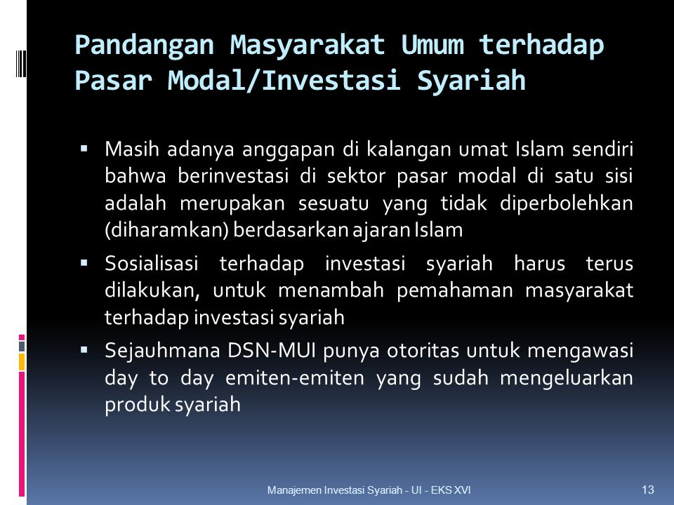 Pandangan Masyarakat Umum terhadap Pasar Modal/Investasi Syariah  Masih adanya anggapan di kalangan umat Islam sendiri bahwa berinvestasi di sektor pasar modal di satu sisi adalah merupakan sesuatu yang tidak diperbolehkan (diharamkan) berdasarkan ajaran Islam  Sosialisasi terhadap investasi syariah harus terus dilakukan, untuk menambah pemahaman masyarakat terhadap investasi syariah  Sejauhmana DSN-MUI punya otoritas untuk mengawasi day to day emiten-emiten yang sudah mengeluarkan produk syariah 13 Manajemen Investasi Syariah - UI - EKS XVI