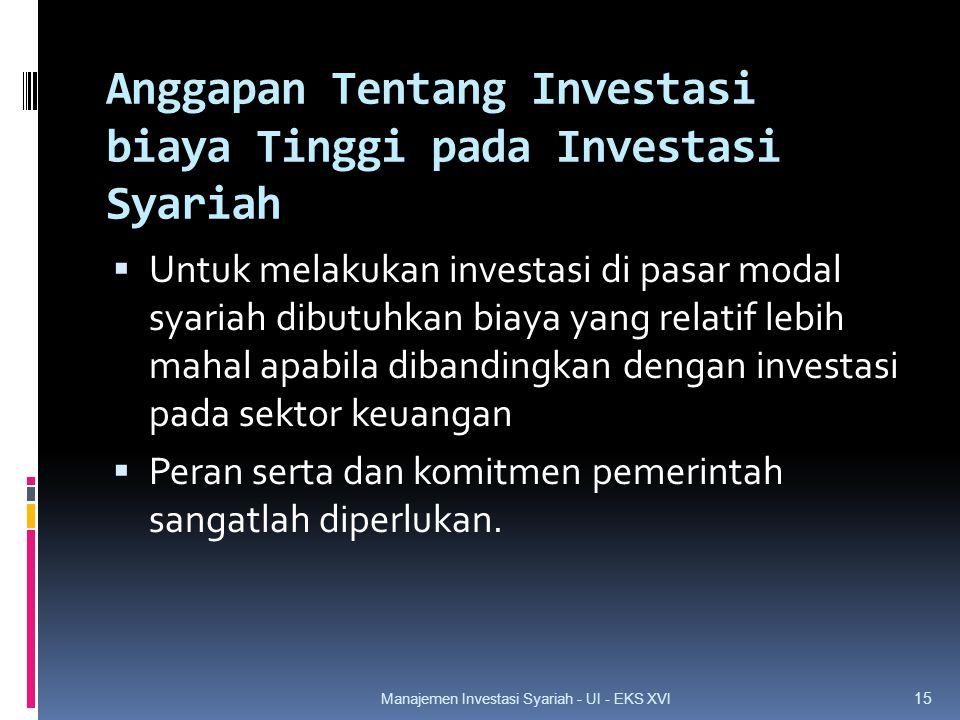Anggapan Tentang Investasi biaya Tinggi pada Investasi Syariah  Untuk melakukan investasi di pasar modal syariah dibutuhkan biaya yang relatif lebih mahal apabila dibandingkan dengan investasi pada sektor keuangan  Peran serta dan komitmen pemerintah sangatlah diperlukan.