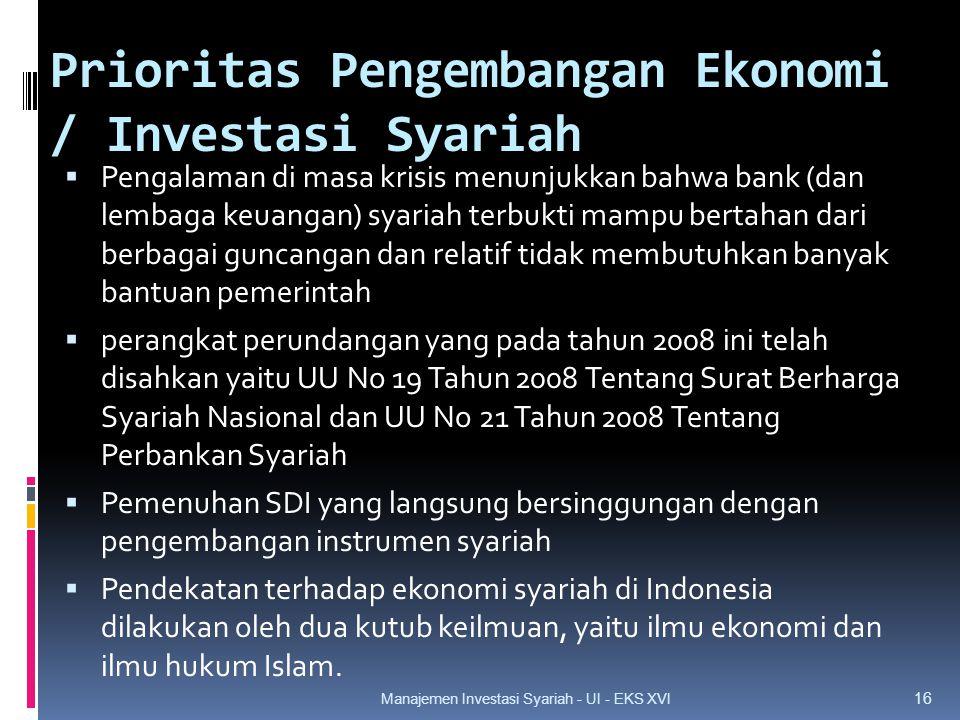Prioritas Pengembangan Ekonomi / Investasi Syariah  Pengalaman di masa krisis menunjukkan bahwa bank (dan lembaga keuangan) syariah terbukti mampu bertahan dari berbagai guncangan dan relatif tidak membutuhkan banyak bantuan pemerintah  perangkat perundangan yang pada tahun 2008 ini telah disahkan yaitu UU No 19 Tahun 2008 Tentang Surat Berharga Syariah Nasional dan UU No 21 Tahun 2008 Tentang Perbankan Syariah  Pemenuhan SDI yang langsung bersinggungan dengan pengembangan instrumen syariah  Pendekatan terhadap ekonomi syariah di Indonesia dilakukan oleh dua kutub keilmuan, yaitu ilmu ekonomi dan ilmu hukum Islam.