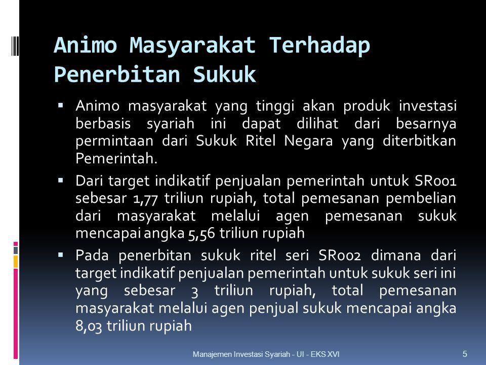 Animo Masyarakat Terhadap Penerbitan Sukuk  Animo masyarakat yang tinggi akan produk investasi berbasis syariah ini dapat dilihat dari besarnya permintaan dari Sukuk Ritel Negara yang diterbitkan Pemerintah.