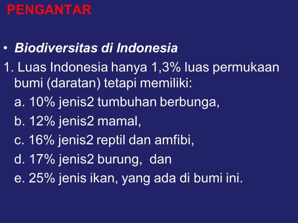 PENGANTAR •Biodiversitas di Indonesia 1. Luas Indonesia hanya 1,3% luas permukaan bumi (daratan) tetapi memiliki: a. 10% jenis2 tumbuhan berbunga, b.