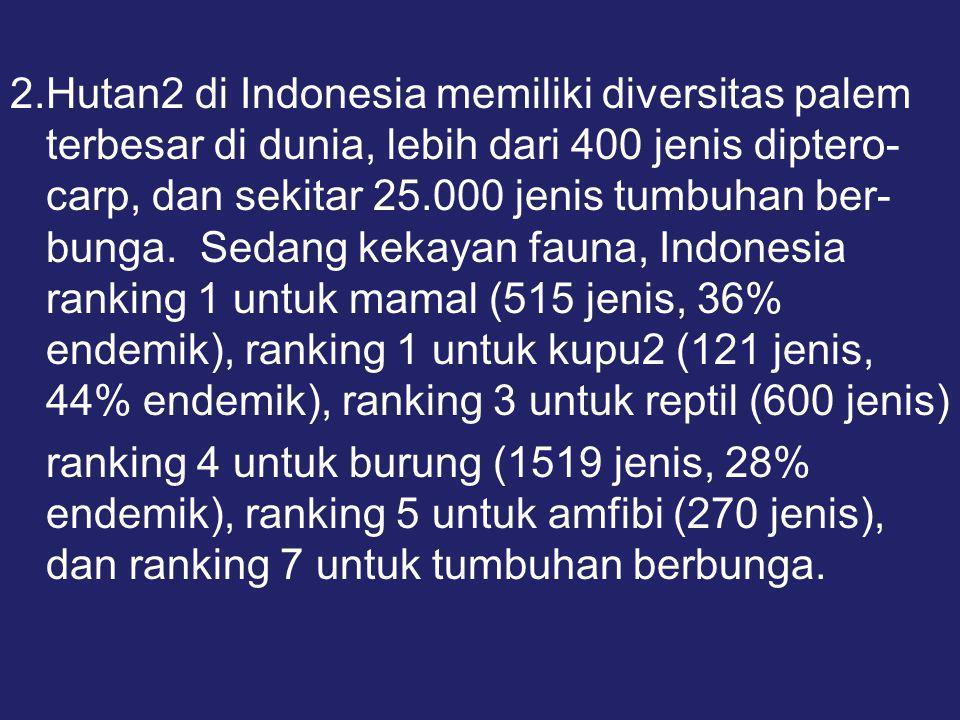 2.Hutan2 di Indonesia memiliki diversitas palem terbesar di dunia, lebih dari 400 jenis diptero- carp, dan sekitar 25.000 jenis tumbuhan ber- bunga.