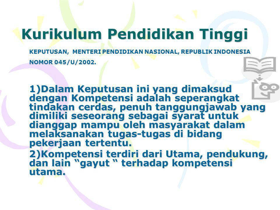Kurikulum Pendidikan Tinggi KEPUTUSAN, MENTERI PENDIDIKAN NASIONAL, REPUBLIK INDONESIA NOMOR 045/U/2002.