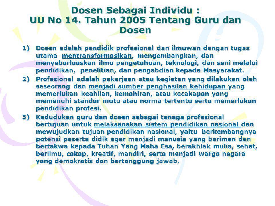 Dosen Sebagai Individu : UU No 14.