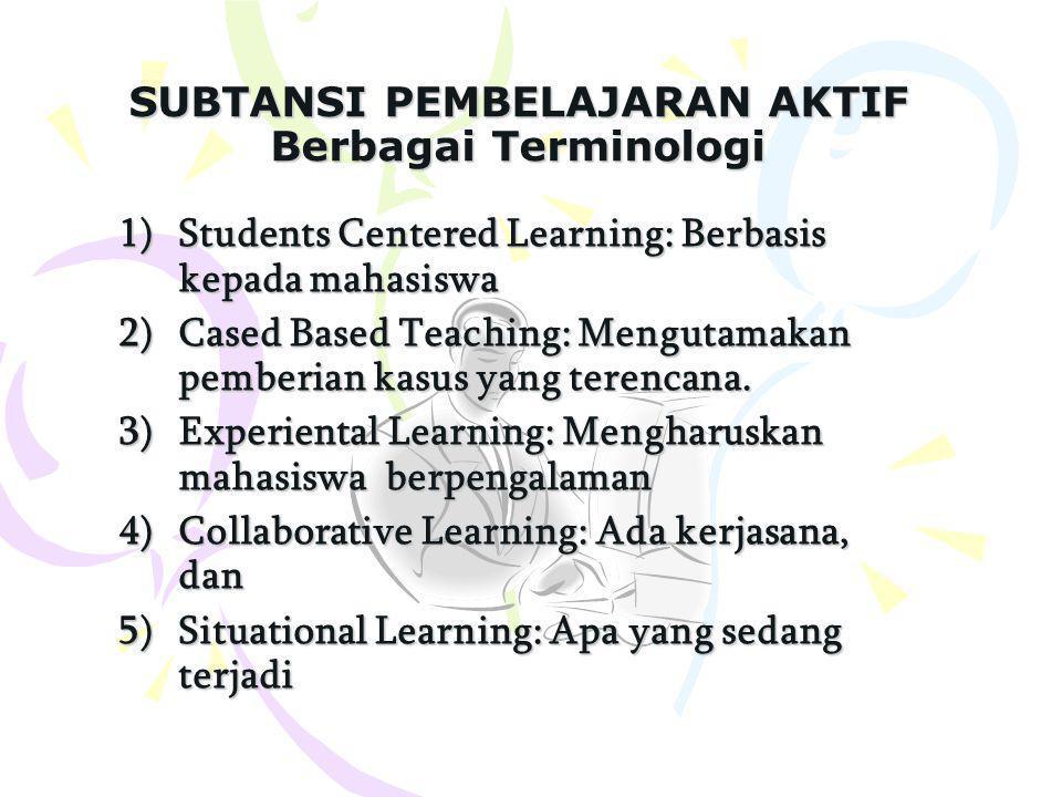 SUBTANSI PEMBELAJARAN AKTIF Berbagai Terminologi 1)Students Centered Learning: Berbasis kepada mahasiswa 2)Cased Based Teaching: Mengutamakan pemberian kasus yang terencana.