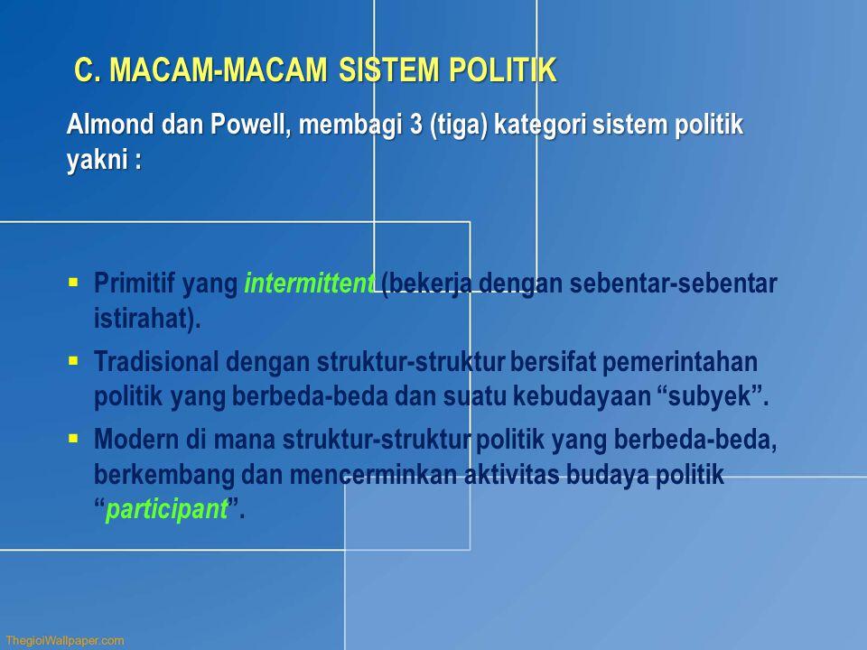 C. MACAM-MACAM SISTEM POLITIK Almond dan Powell, membagi 3 (tiga) kategori sistem politik yakni :  Primitif yang intermittent (bekerja dengan sebenta