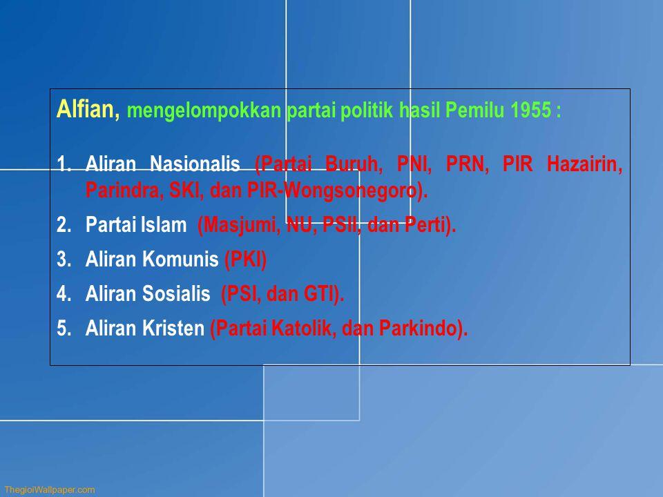 Alfian, mengelompokkan partai politik hasil Pemilu 1955 : 1.Aliran Nasionalis (Partai Buruh, PNI, PRN, PIR Hazairin, Parindra, SKI, dan PIR-Wongsonego