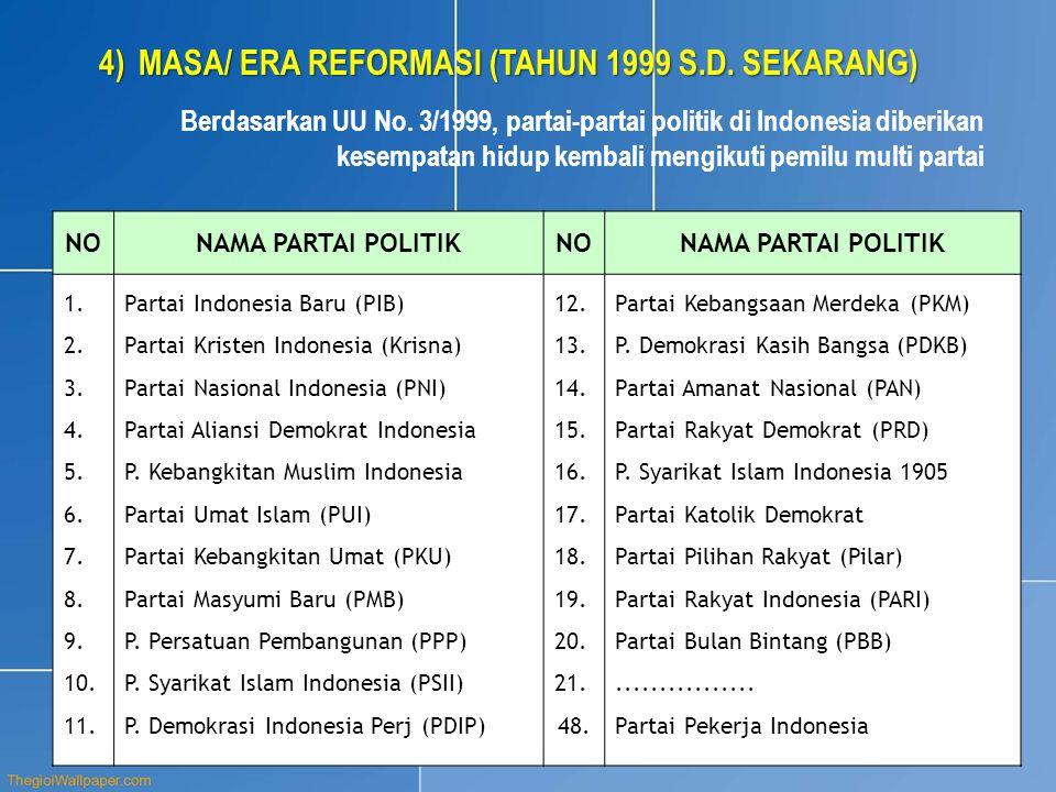 4)MASA/ ERA REFORMASI (TAHUN 1999 S.D. SEKARANG) Berdasarkan UU No. 3/1999, partai-partai politik di Indonesia diberikan kesempatan hidup kembali meng
