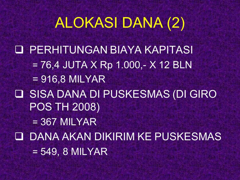 ALOKASI DANA (2)  PERHITUNGAN BIAYA KAPITASI = 76,4 JUTA X Rp 1.000,- X 12 BLN = 916,8 MILYAR  SISA DANA DI PUSKESMAS (DI GIRO POS TH 2008) = 367 MI