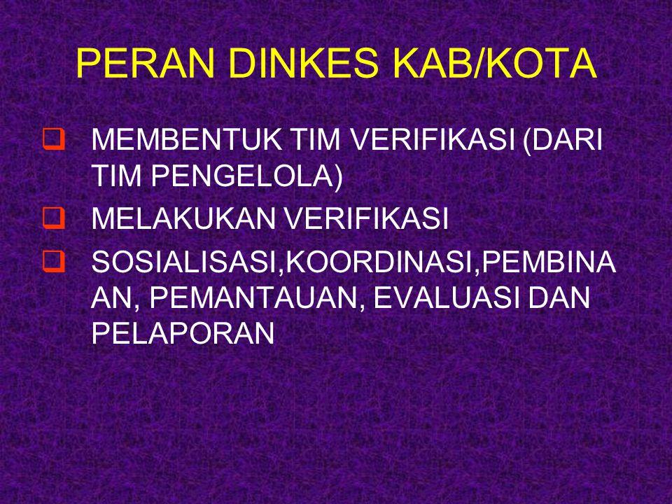 PERAN DINKES KAB/KOTA  MEMBENTUK TIM VERIFIKASI (DARI TIM PENGELOLA)  MELAKUKAN VERIFIKASI  SOSIALISASI,KOORDINASI,PEMBINA AN, PEMANTAUAN, EVALUASI