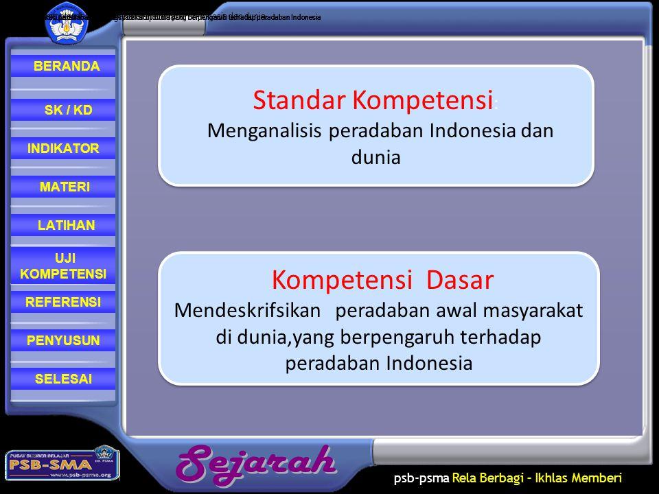 psb-psma Rela Berbagi – Ikhlas Memberi REFERENSI LATIHAN MATERI PENYUSUN INDIKATOR SK / KD UJI KOMPETENSI BERANDA SELESAI Menganalisis peradaban Indon