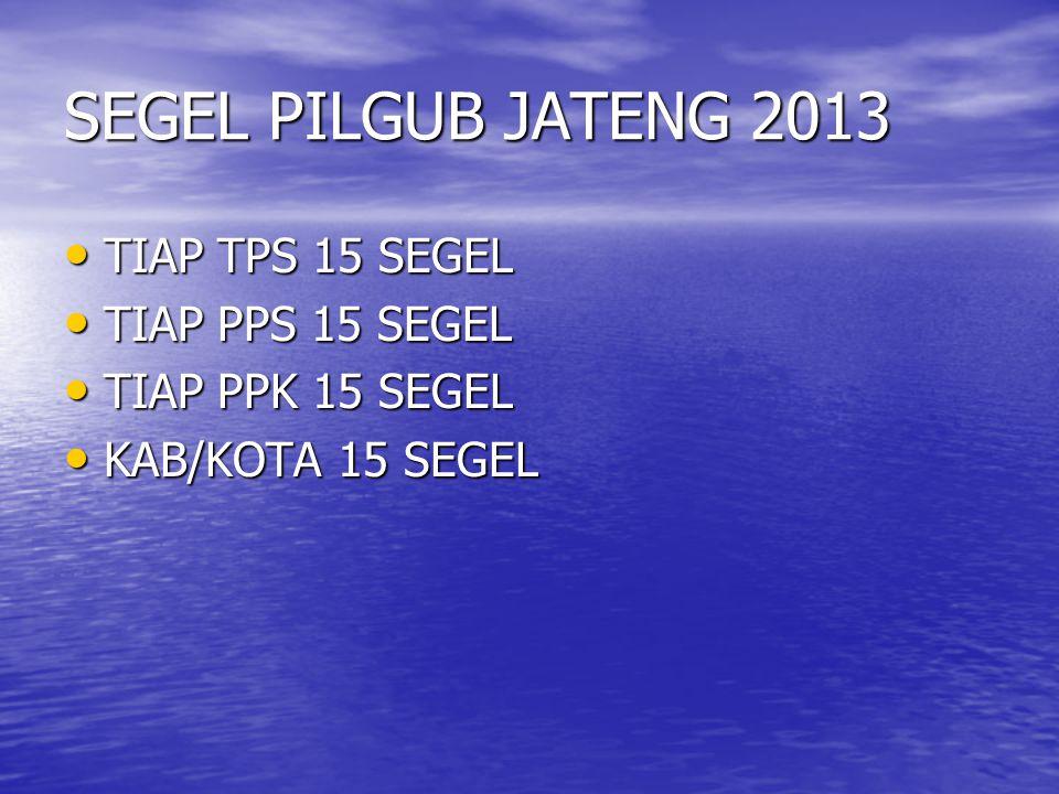 SEGEL PILGUB JATENG 2013 • TIAP TPS 15 SEGEL • TIAP PPS 15 SEGEL • TIAP PPK 15 SEGEL • KAB/KOTA 15 SEGEL