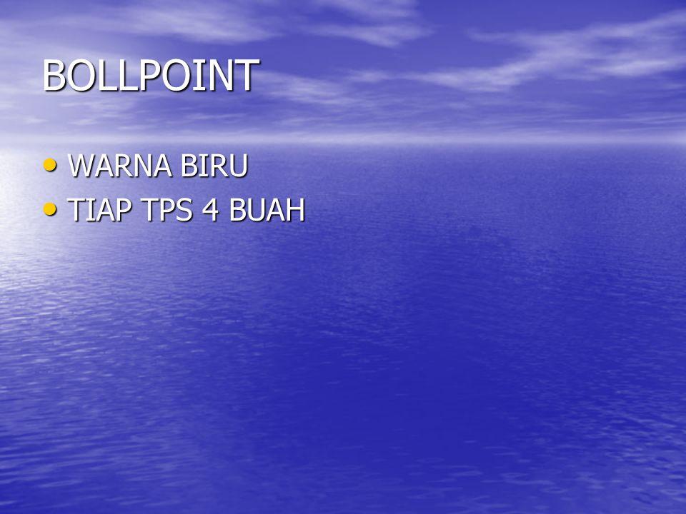 BOLLPOINT • WARNA BIRU • TIAP TPS 4 BUAH