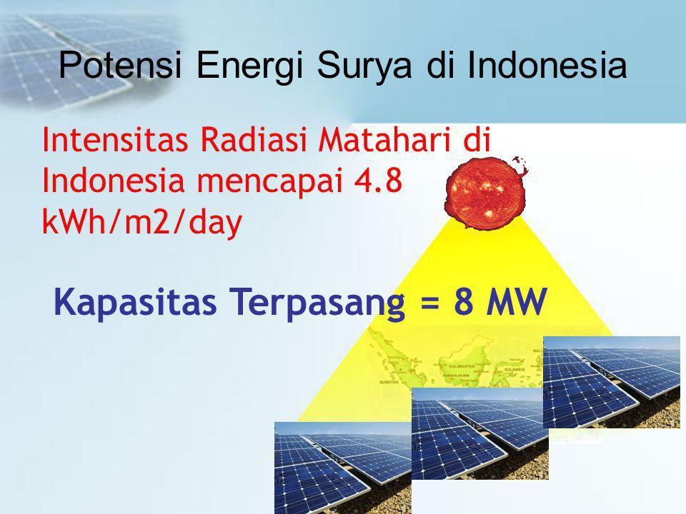 Potensi Energi Surya di Indonesia Intensitas Radiasi Matahari di Indonesia mencapai 4.8 kWh/m2/day Kapasitas Terpasang = 8 MW