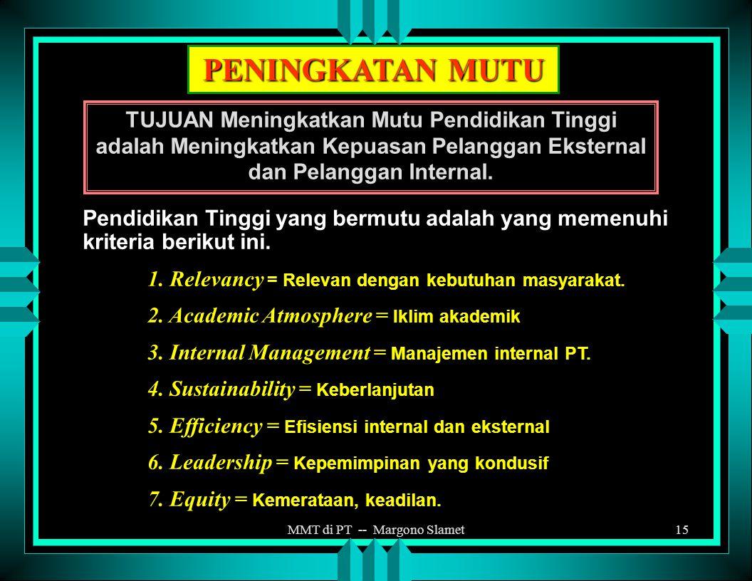 MMT di PT -- Margono Slamet14 HAKEKAT EVALUASI DIRI Mengenal keadaan organisasi / institusi sendiri yang mencakup : 1.Aset, kekuatan dan kemampuan yan