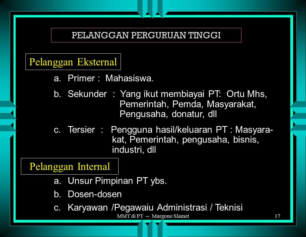 MMT di PT -- Margono Slamet16 PENGERTIAN PELANGGAN Pelanggan suatu organisasi adalah fihak eksternal maupun internal yang menerima barang atau jasa ya