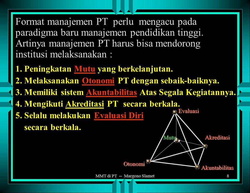 MMT di PT -- Margono Slamet7 PARADIGMA MANAJEMEN PENDIDIKAN TINGGI MASALAH UTAMA DIKTI a.persoalan manajemen perguruan tinggi. b.relevansi program pen