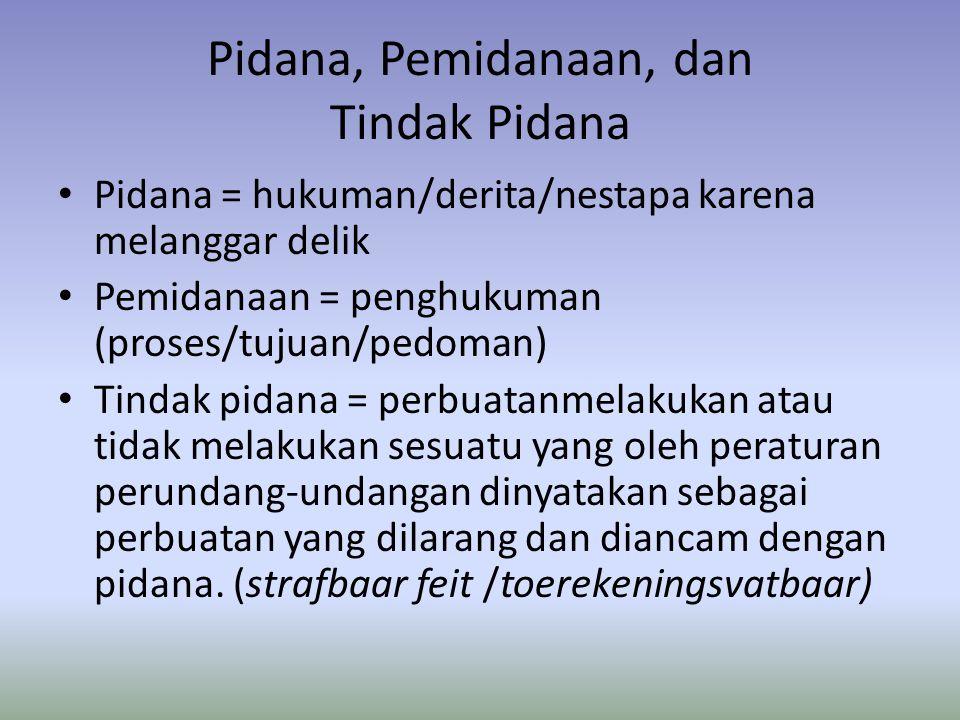 Pidana, Pemidanaan, dan Tindak Pidana • Pidana = hukuman/derita/nestapa karena melanggar delik • Pemidanaan = penghukuman (proses/tujuan/pedoman) • Ti