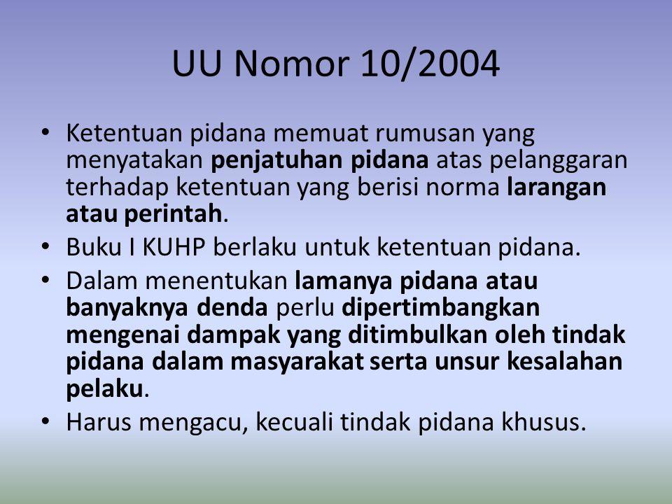 UU Nomor 10/2004 • Ketentuan pidana memuat rumusan yang menyatakan penjatuhan pidana atas pelanggaran terhadap ketentuan yang berisi norma larangan at