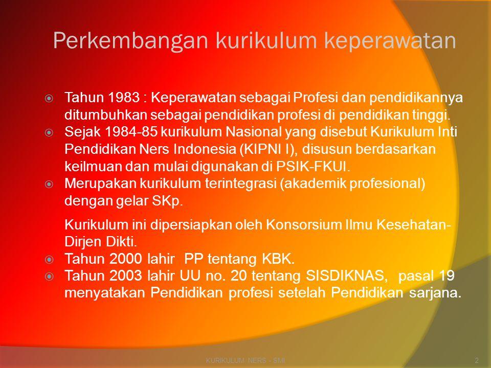 Perkembangan kurikulum keperawatan  Tahun 1983 : Keperawatan sebagai Profesi dan pendidikannya ditumbuhkan sebagai pendidikan profesi di pendidikan t
