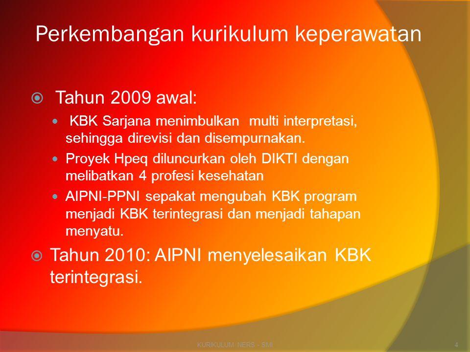 Perkembangan kurikulum keperawatan  Tahun 2009 awal:  KBK Sarjana menimbulkan multi interpretasi, sehingga direvisi dan disempurnakan.  Proyek Hpeq