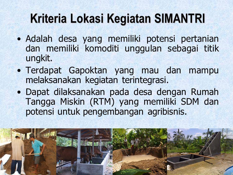 8 Kriteria Lokasi Kegiatan SIMANTRI •Adalah desa yang memiliki potensi pertanian dan memiliki komoditi unggulan sebagai titik ungkit. •Terdapat Gapokt