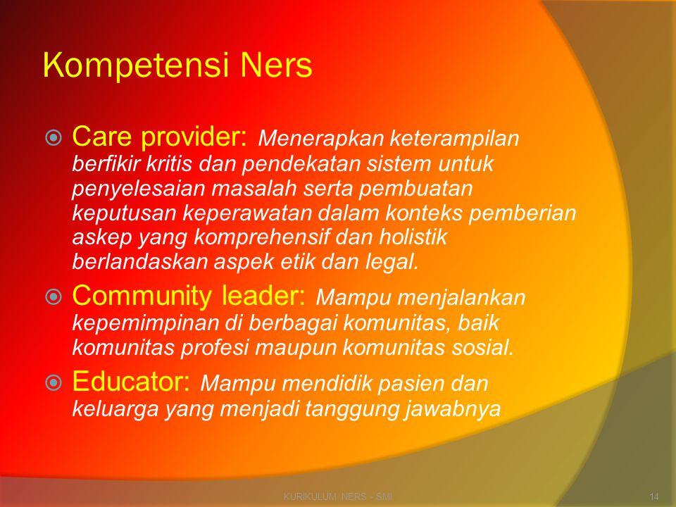 Kompetensi Ners  Care provider: Menerapkan keterampilan berfikir kritis dan pendekatan sistem untuk penyelesaian masalah serta pembuatan keputusan ke