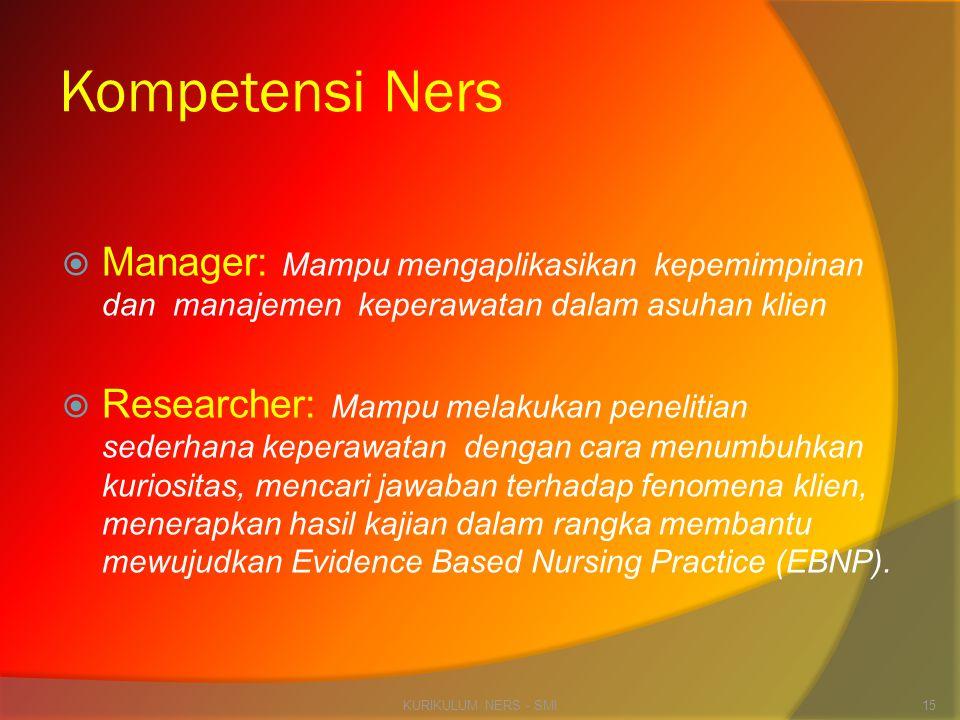 Kompetensi Ners  Manager: Mampu mengaplikasikan kepemimpinan dan manajemen keperawatan dalam asuhan klien  Researcher: Mampu melakukan penelitian se