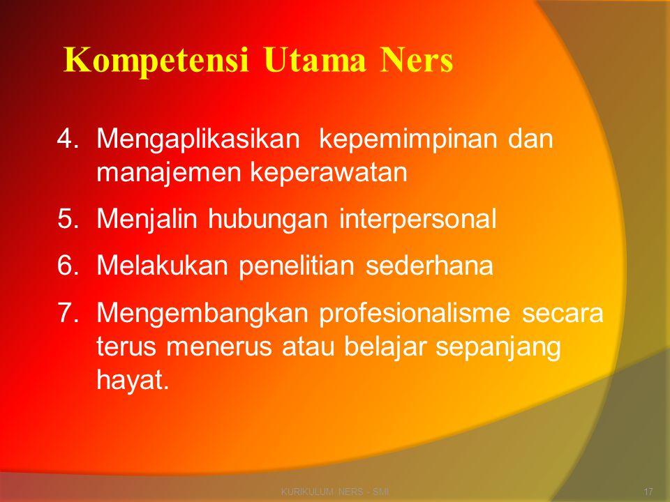 4.Mengaplikasikan kepemimpinan dan manajemen keperawatan 5.Menjalin hubungan interpersonal 6.Melakukan penelitian sederhana 7.Mengembangkan profesiona
