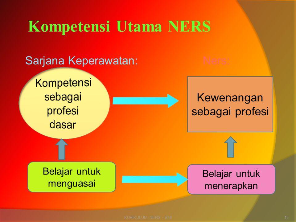 Sarjana Keperawatan:Ners: KURIKULUM NERS - SMI18 Kompetensi Utama NERS Kewenangan sebagai profesi Belajar untuk menguasai Belajar untuk menerapkan