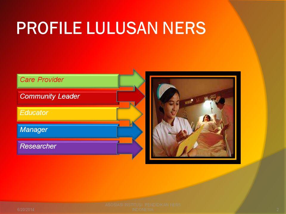 PROFILE LULUSAN NERS Care Provider Community Leader Educator Manager Researcher 6/20/20142 ASOSIASI INSTITUSI PENDIDIKAN NERS INDONESIA