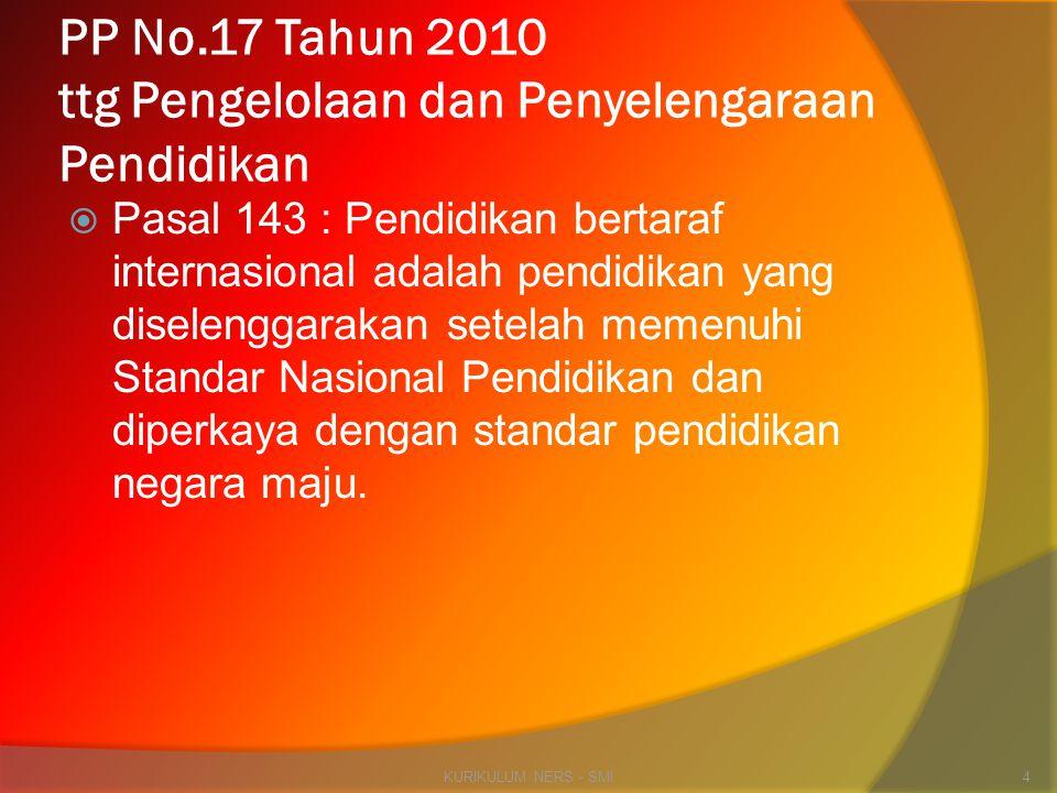 PP No.17 Tahun 2010 ttg Pengelolaan dan Penyelengaraan Pendidikan  Pasal 143 : Pendidikan bertaraf internasional adalah pendidikan yang diselenggarak