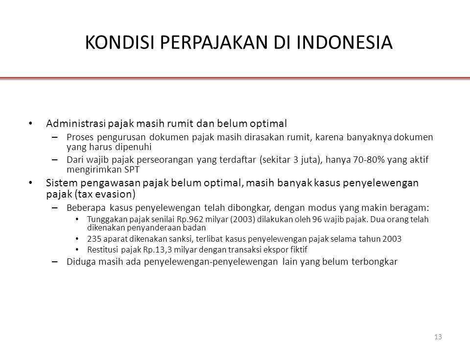 13 KONDISI PERPAJAKAN DI INDONESIA • Administrasi pajak masih rumit dan belum optimal – Proses pengurusan dokumen pajak masih dirasakan rumit, karena