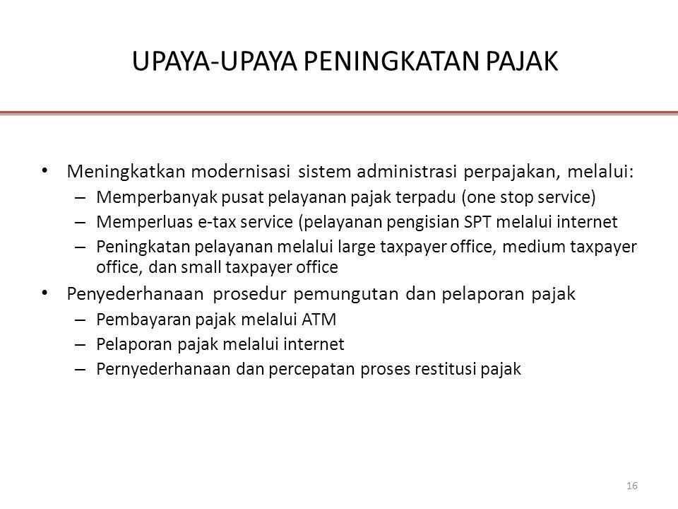 16 UPAYA-UPAYA PENINGKATAN PAJAK • Meningkatkan modernisasi sistem administrasi perpajakan, melalui: – Memperbanyak pusat pelayanan pajak terpadu (one