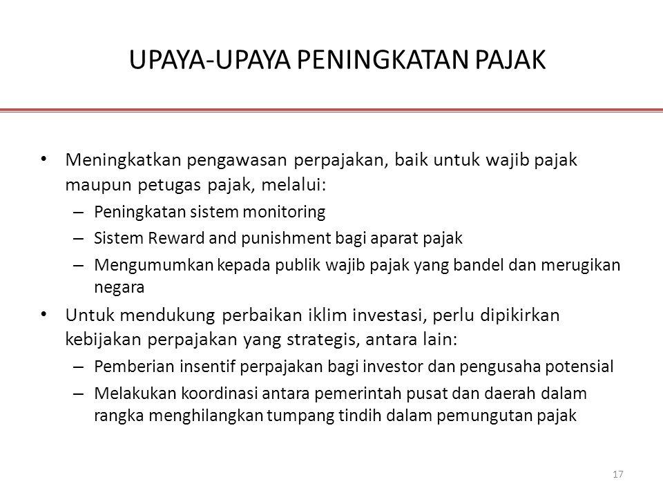 17 UPAYA-UPAYA PENINGKATAN PAJAK • Meningkatkan pengawasan perpajakan, baik untuk wajib pajak maupun petugas pajak, melalui: – Peningkatan sistem moni