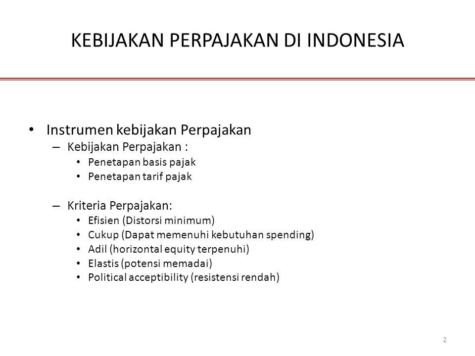 2 KEBIJAKAN PERPAJAKAN DI INDONESIA • Instrumen kebijakan Perpajakan – Kebijakan Perpajakan : • Penetapan basis pajak • Penetapan tarif pajak – Kriter