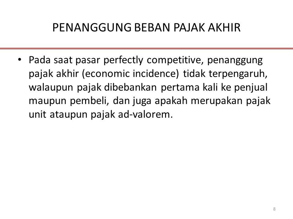 8 PENANGGUNG BEBAN PAJAK AKHIR • Pada saat pasar perfectly competitive, penanggung pajak akhir (economic incidence) tidak terpengaruh, walaupun pajak